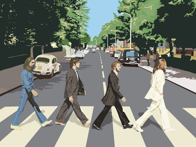 abbey road caricatura, abbey road wallpaper, the beatles