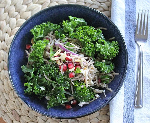 Kale & Soba Noodle Salad with Pomegranates & Feta | sweetpeasandsaffron.com
