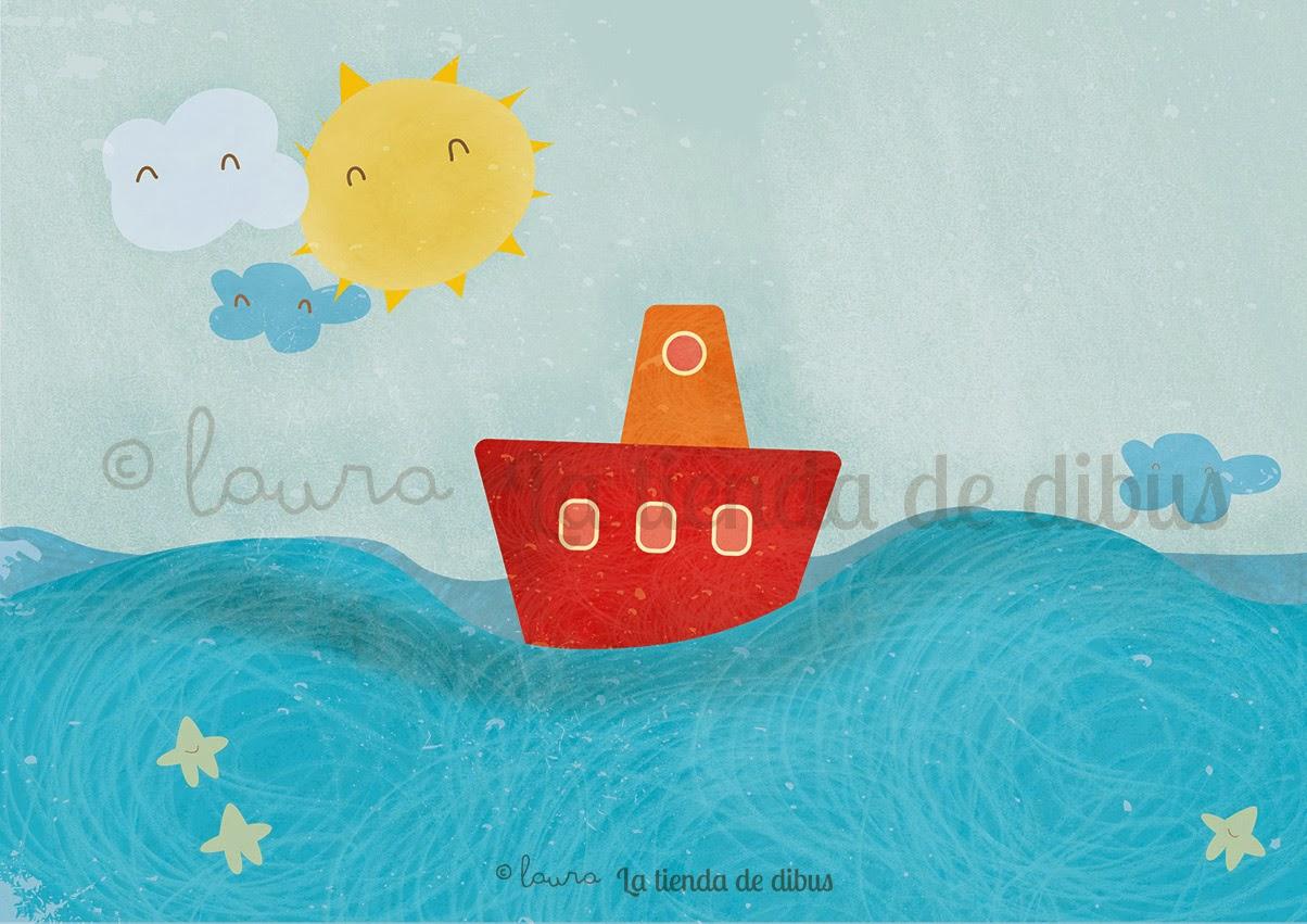 ilustracion barquito en el mar con sol