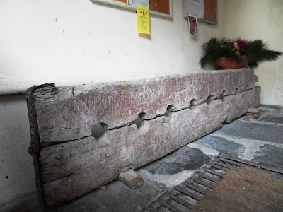 Stocks at St Symphorian church, Veryan, Cornwall
