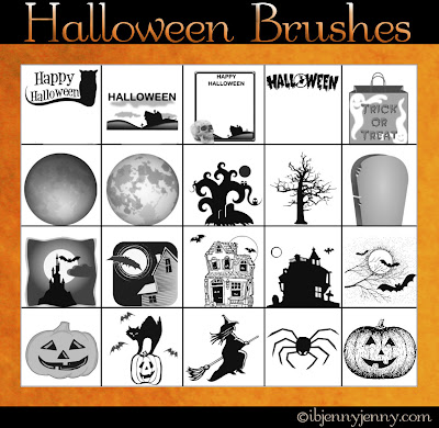 witches pumpkins haunted houses spiders brushes for photoshop