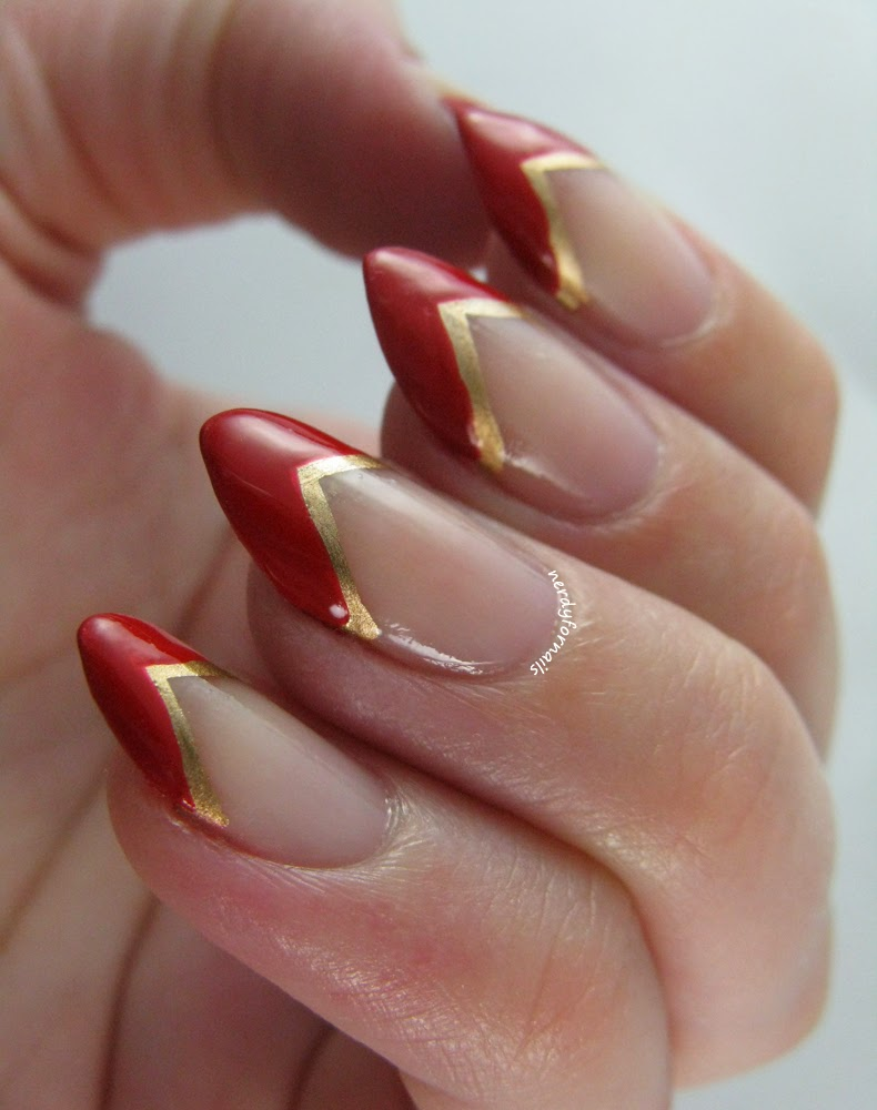 Lana Del Rey Inspired Red and Gold French Tips Pointy Nails