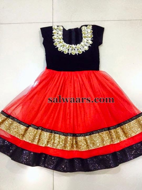 Red and Black Stone Work Frock