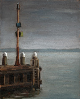 Oil painting of a utility post at the end of a pier with distant hills beyond a wide bay.