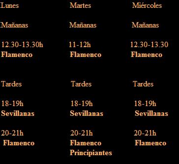 Horarios clases de Flamenco en Barcelona