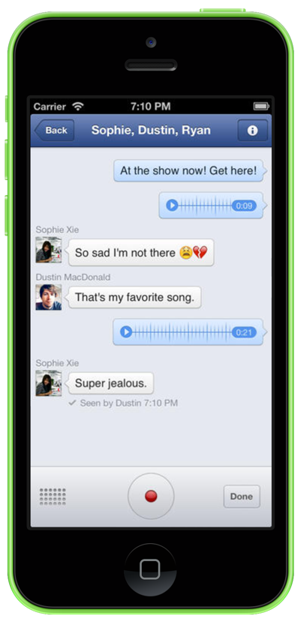 facebook voice message screenshot on iphone 5c