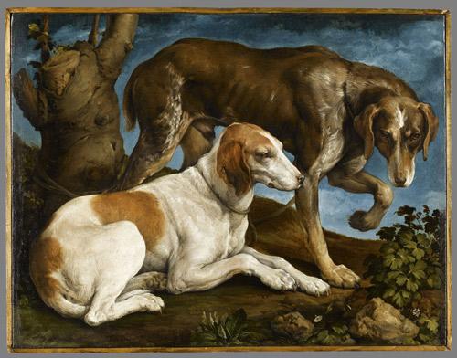 Deux chiens de chasse liés à une souche 1548-1549 by Jacopo Bassano