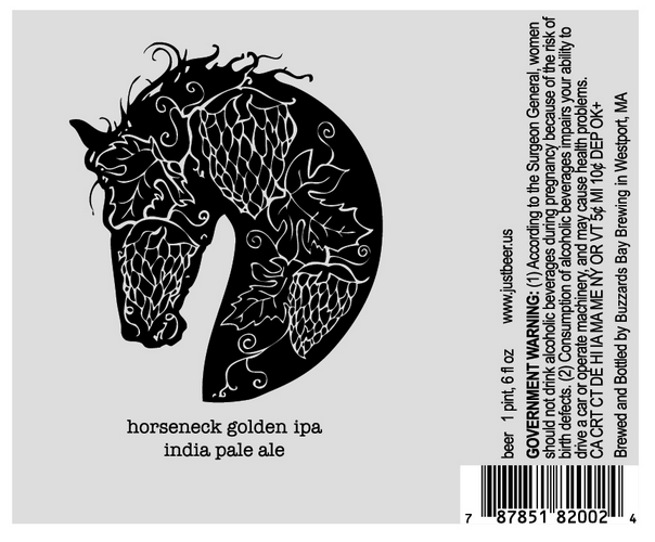 Just Beer Horseneck Golden IPA label design