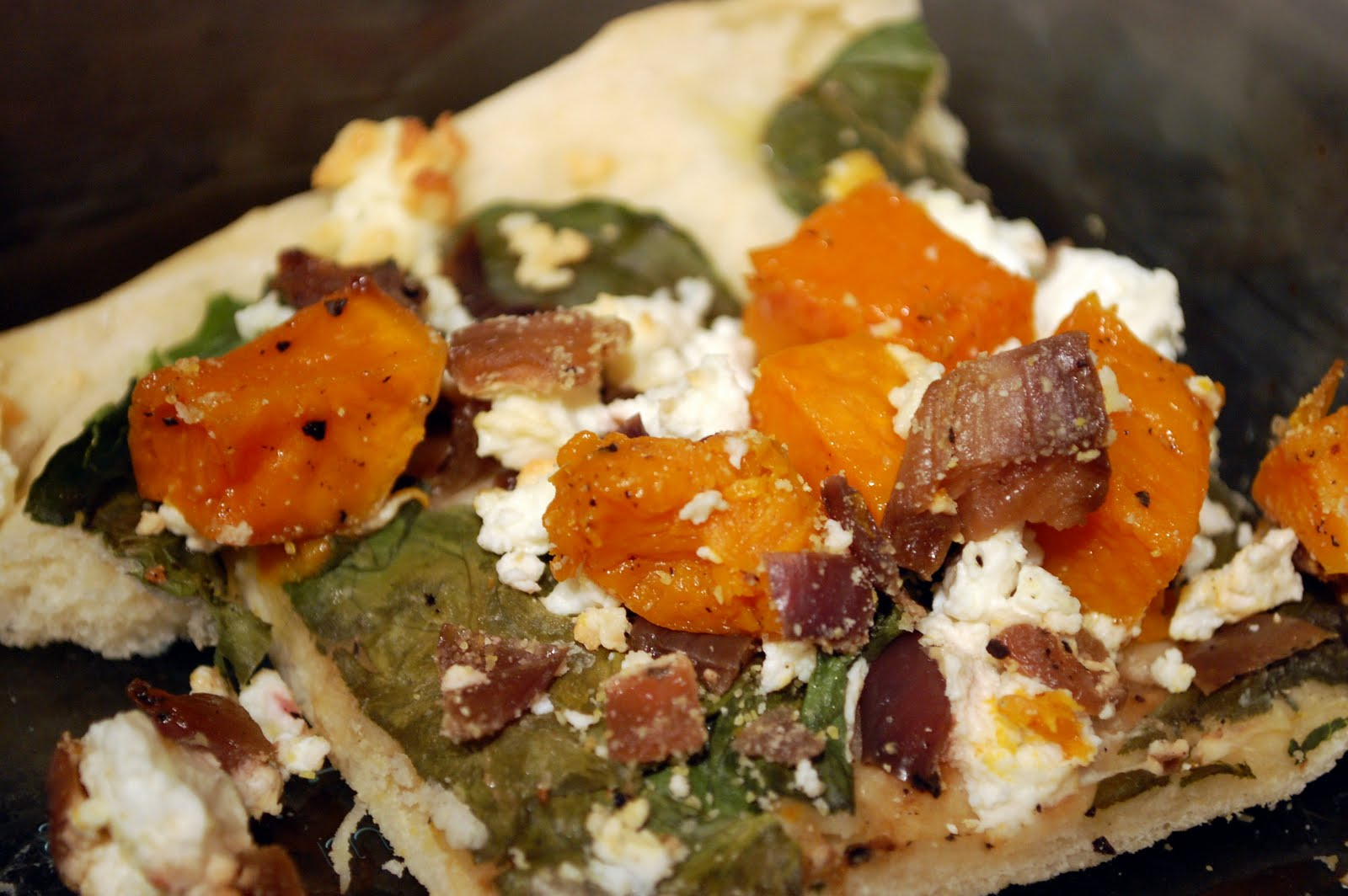 The Skillet Takes: Butternut Squash, Spinach, and Goat Cheese Pizza