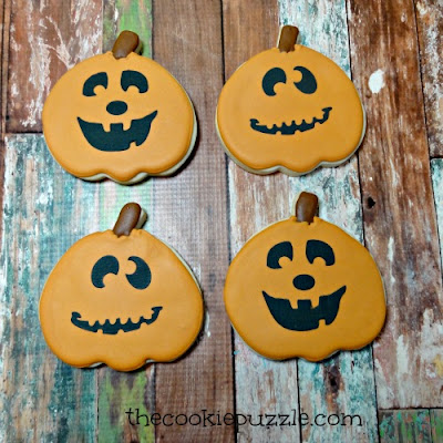 Stenciled Pumpkin Cookies