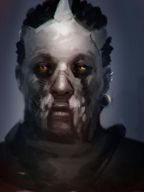 Stepan Alekseev ilustrações digitais fantasia violência Máscara