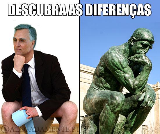 Caricatura de Cavaco Silva junto do Pensador de Rodin – Descubra as diferenças