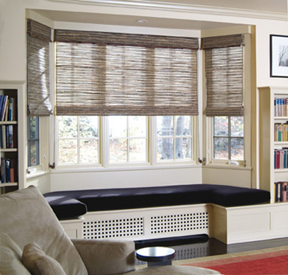 Adorned abode archive privacy treatments for bay windows for Roman shades for bay windows