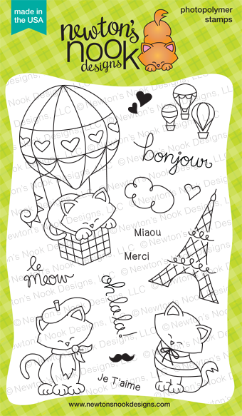 Newton Dreams of Paris | Cat Stamp set |  Newton's Nook Designs