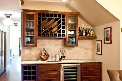 custom built wine rack in dark wood material