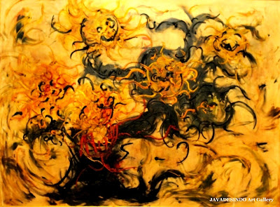 Affandi,+Five+Cut+Sunflowers,+120cmX88cm