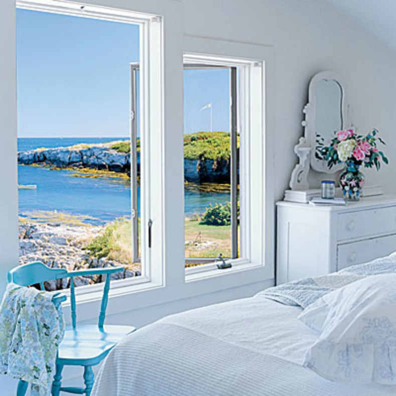 coastal bedroom with view