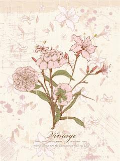 古風な花の背景のイラスト Retro Floral Illustration