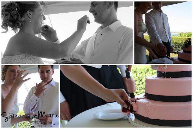 cutting and feeding of the wedding cake