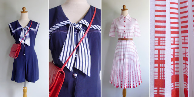 vintage sailor red & white op art dress