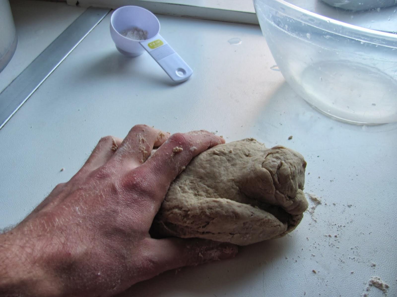 Kneading the stout trub bread dough