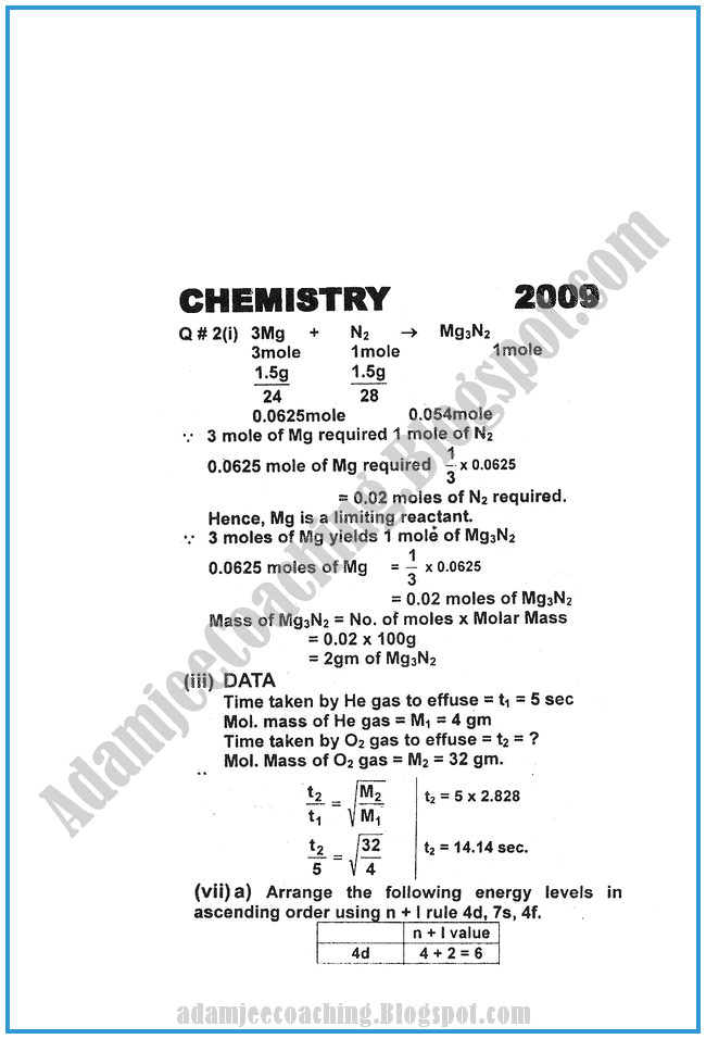 Chemistry-Numericals-Solve-2009-past-year-paper-class-XI