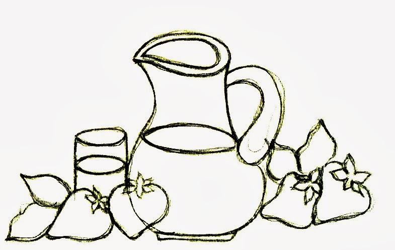 desenho de jarra de suco de morango para pintar em semaninha de panos de copa