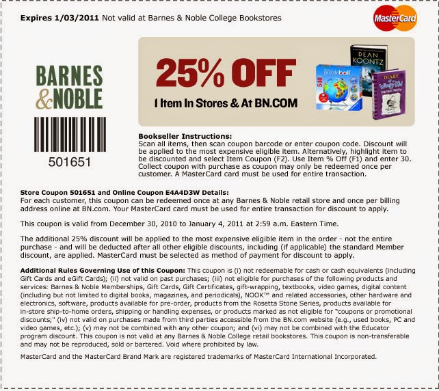 Coupon codes barnes and noble