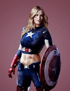 Na imagem: Montagem que mostra a Eliza Taylor usando um uniforme do Capitão América