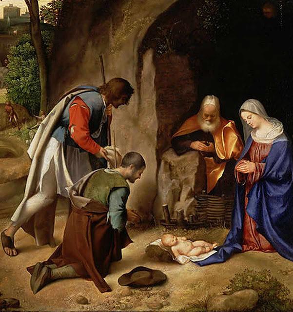 Adoración de los pastores.  Barbarelli Giorgio da Castelfranco, llamado Giorgione, alrededor de 1500.