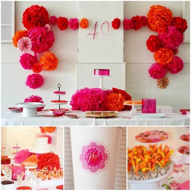 Decoracion Original Cumplea?os ~ Ideas con pompones de papel fucsia y naranja y vasitos con distintivos