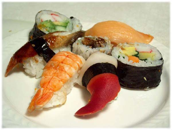 Sushi japanese food from raw fish japan culture center for Is sushi raw fish