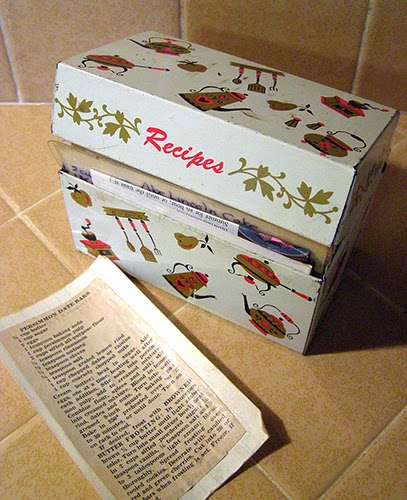 Bruce's Parents' Recipe box with Persimmon Bar Recipe