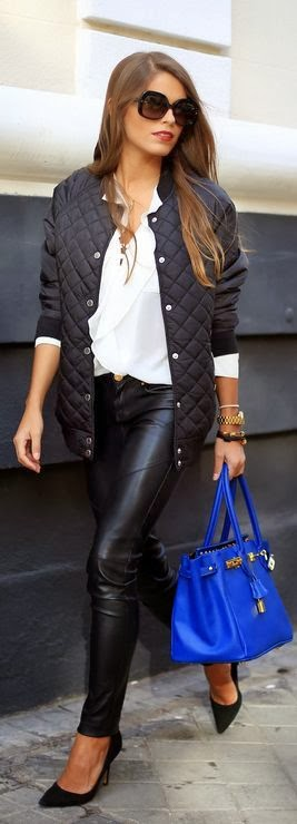 Black Leather Tight, Jacket And Handbag