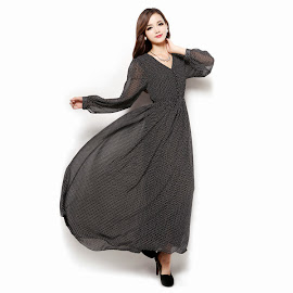 Lined Front Button Long Sleeve Chiffon Maxi