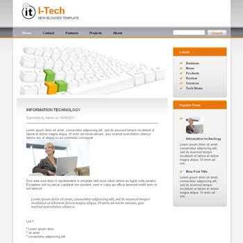 I-Tech blog template. download blogger template for technology blogs