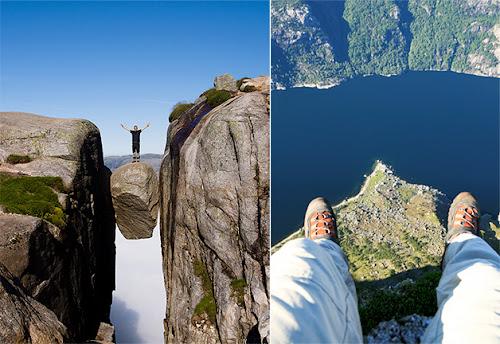 Pedra gigante suspensa sobre um abismo de 1000 metros