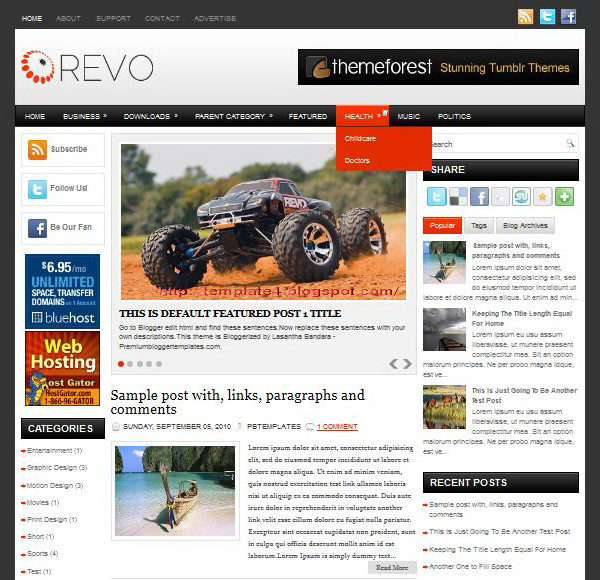 Revo Blogger Template