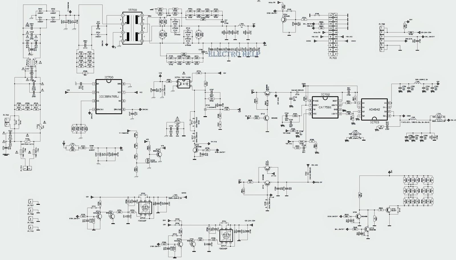 Sharp Lc24le510 Led Tv Power Supply  Smps   U0026 Led Converter Circuit Diagram