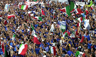 Football fans unite behind the Italian flag at major tournaments