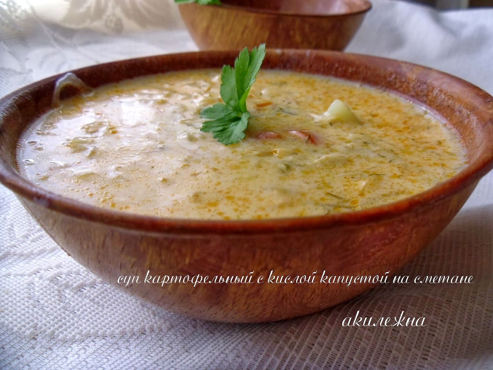 Суп картофельный с кислой капустой на сметане
