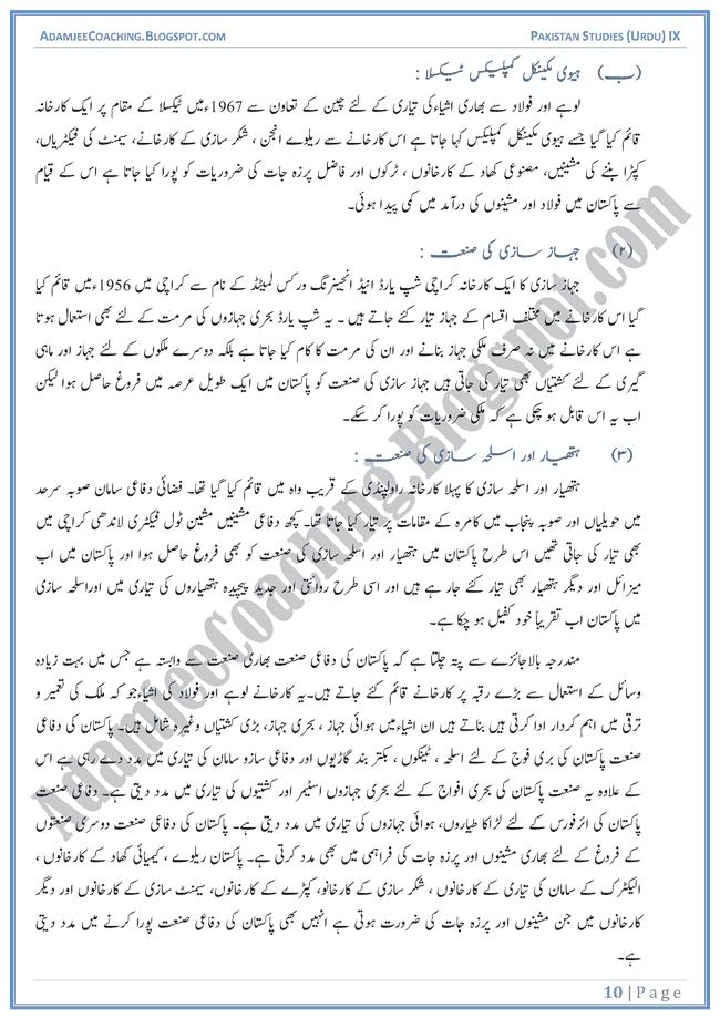 Industrial-Development-in-Pakistan-Descriptive-Question-Answers-Pakistan-Studies-Urdu-IX