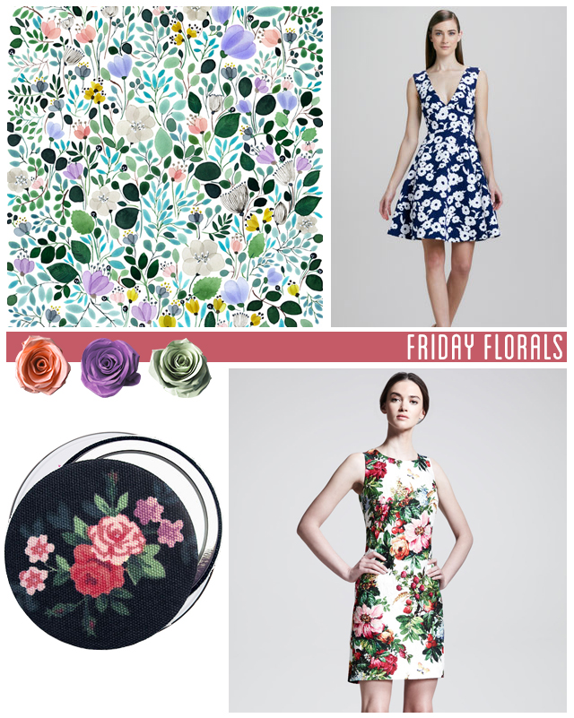 floral pattern by anna emilia, kate spade dress, pocket mirror, dolce and gabanna dress
