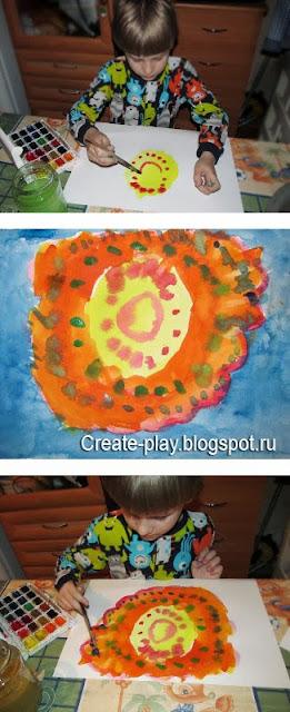 детский рисунок солнышко