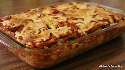 Ziti-Chicken-Zucchini Pasta Bake (Lasagna Wannabe– Sort Of!)