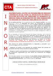 RESPUESTA DEL CENTRO DE PREVENCIÓN DE RIESGOS LABORALES DE LA JUNTA DE ANDALUCÍA EN CÁDIZ A NUESTRA