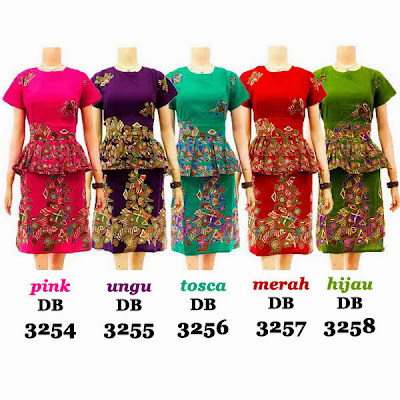 DB3254-3258 Model Baju Dress Batik Modern Terbaru 2013