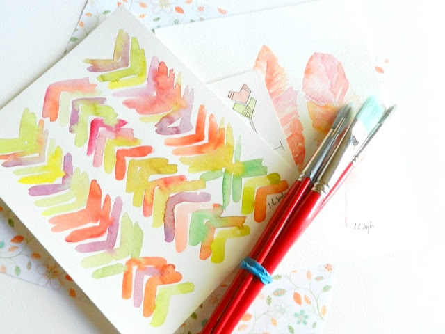 Original Watercolor Chevron Painting