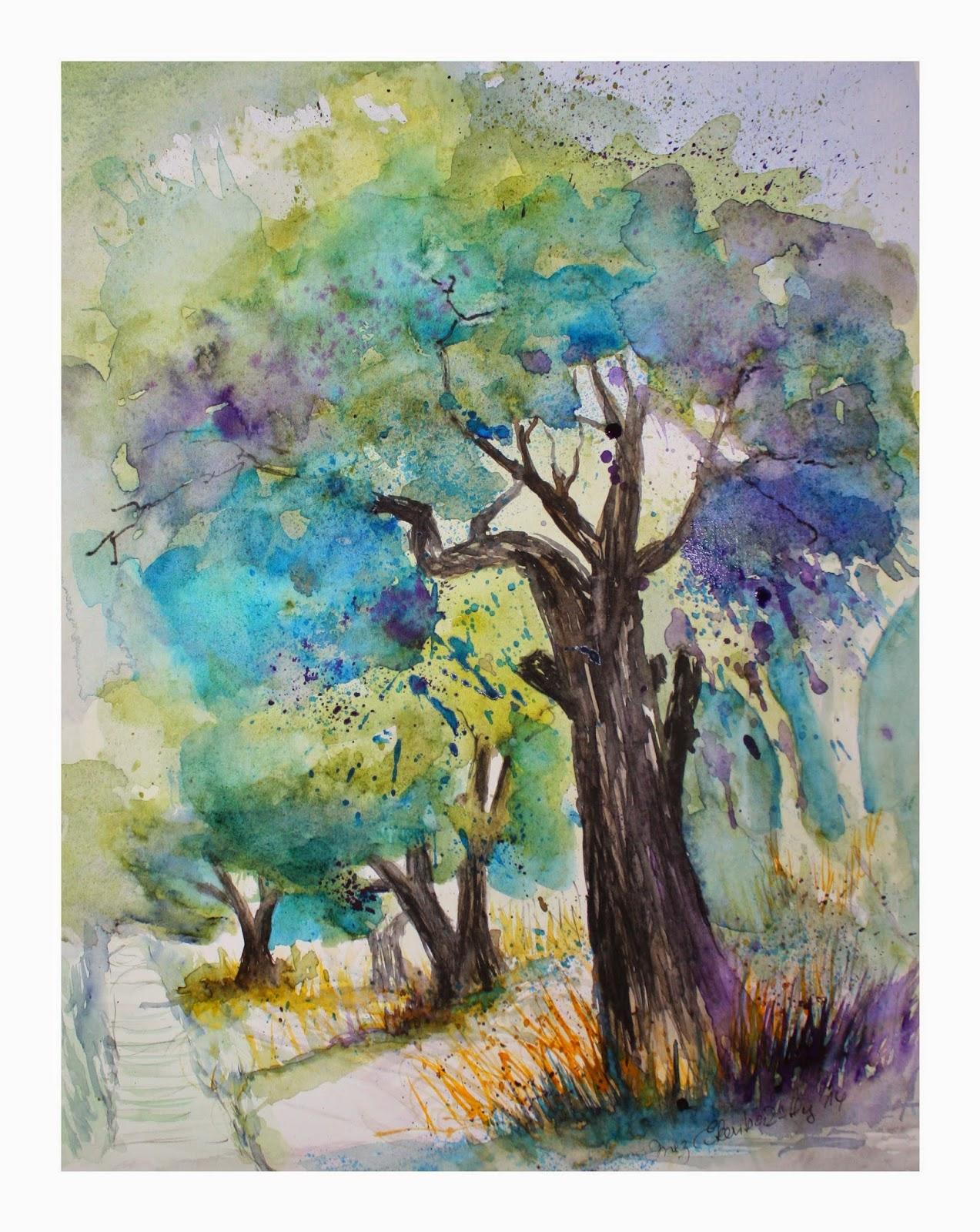 Olivenbaum, Aquarell von Inez Eckenbach-Henning