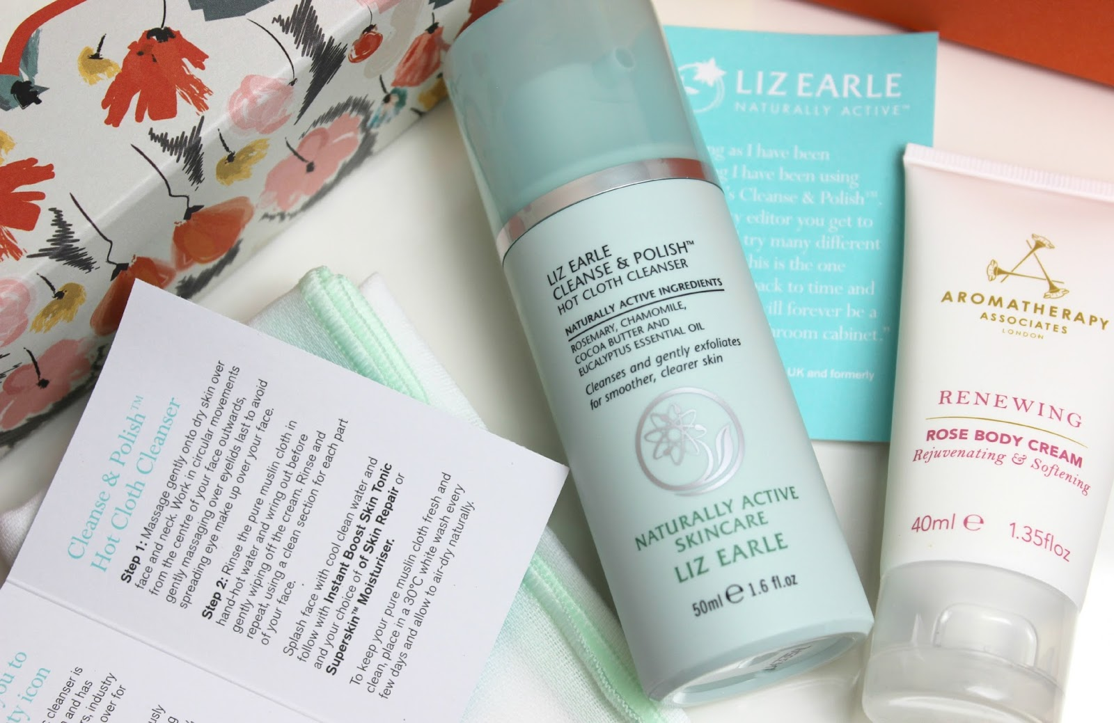 A picture of Liz Earle Beauty Co. Cleanse & Polish and Aromatherapy Associates Renewing Rose Body Cream